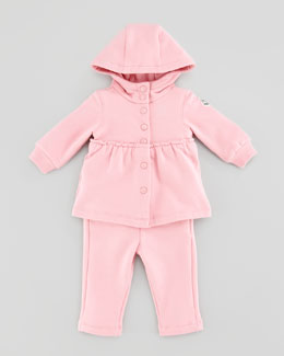 Moncler Jersey Snap-Button Hoodie & Pants Set, Pink