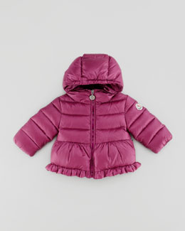 Moncler Odile Quilted Jacket with Ruffle, Raspberry, 18M-2T