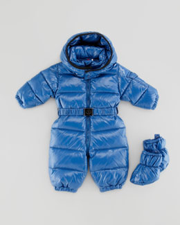 Moncler Amandes Quilted Snowsuit, Bright Blue, 18M-2T