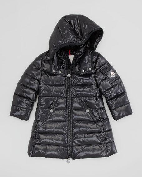Girls' Long Moka Hooded Jacket, Black, Sizes 2-6