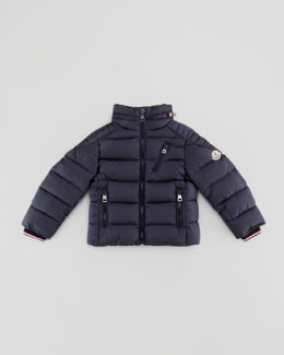 Moncler Quilted Nylon Down Biker Jacket, Navy