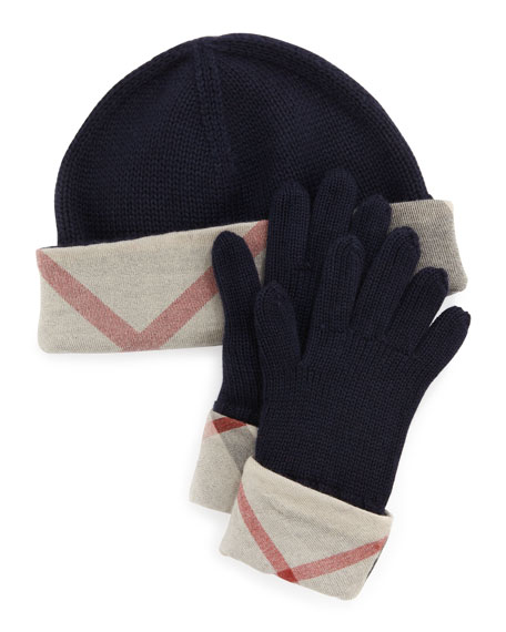Kids' Knit Check-Trim Hat & Gloves Box Set, Navy