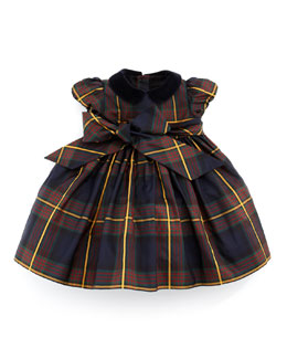 Ralph Lauren Childrenswear Silk Tartan Plaid Dress, Navy, 3-9 Months
