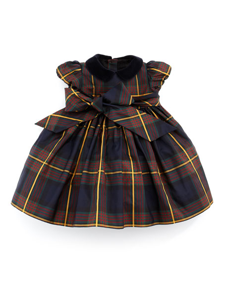 Silk Tartan Plaid Dress, Navy, 3-9 Months