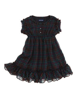 Ralph Lauren Childrenswear Tartan-Plaid Ruffle Chiffon Dress, Black/Red, 2T-3T