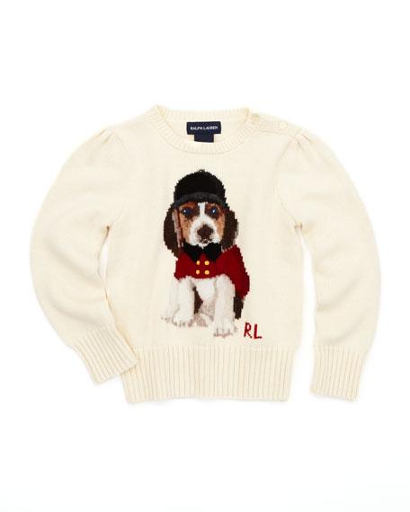Holiday Dog-Intarsia Sweater, Cream, 2T-3T