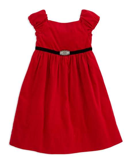 Corduroy Party Dress, Red, Sizes 4-6X
