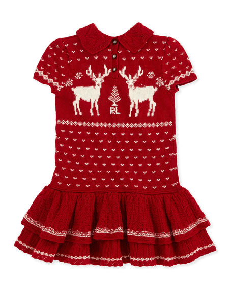 Short-Sleeve Reindeer-Knit Dress, Red, Sizes 4-6X