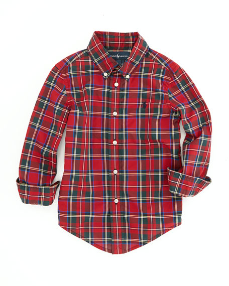 Blake Long-Sleeve Tartan Plaid Shirt, Red, 2T-3T