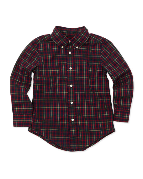 Blake Long-Sleeve Tartan Plaid Shirt, Green, 2T-3T