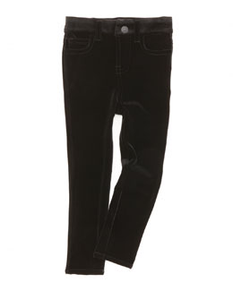 7 For All Mankind The Skinny Velveteen Jeans, Black, Sizes 4-6X