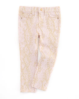 7 For All Mankind The Skinny Snake Jeans, Pink/Gold, Sizes 4-6X