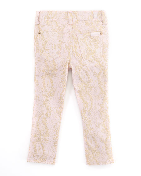 The Skinny Snake Jeans, Pink/Gold, Sizes 8-10
