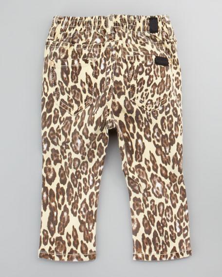 Pintucked Top & Cheetah Print Jeans Set, 12-24 Months