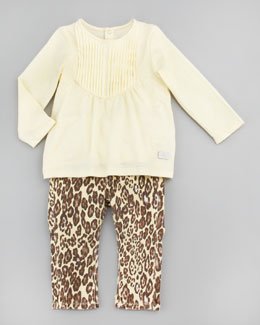 7 For All Mankind Pintucked Top & Cheetah Print Jeans Set, 12-24 Months