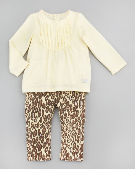 Pintucked Top & Cheetah Print Jeans Set, 12-24 Months