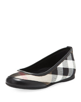 Burberry Kid Parade Ballerina Flat, Black, EU Sizes 27-34