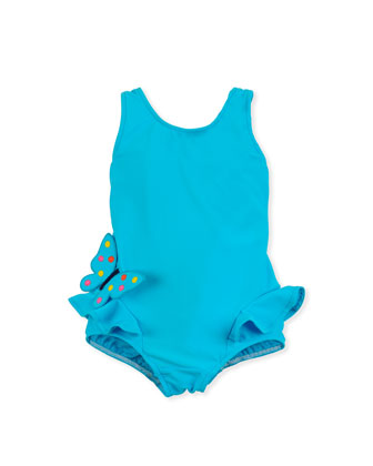 Butterfly Social One-Piece Swimsuit, Turquoise, 4-6X