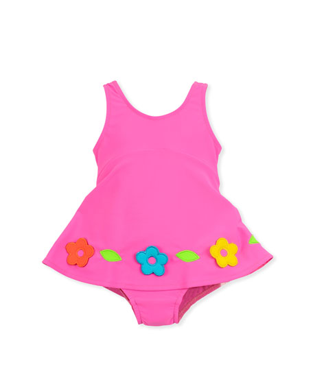 Flower One-Piece Swimsuit, Pink, 2T-4T