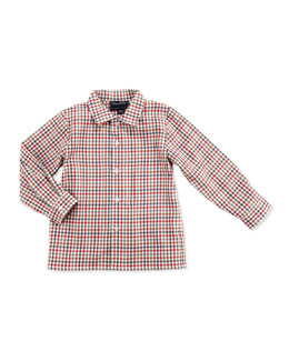 Oscar de la Renta Toddler Boys' Grid-Check Shirt, Red Multi, 2Y-3Y