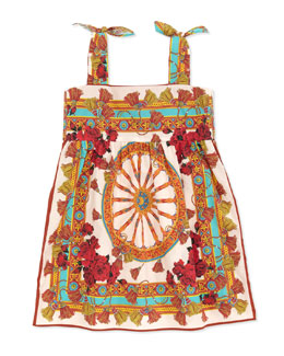 Dolce & Gabbana Wheel-Print Sleeveless Dress, Sizes 2-6