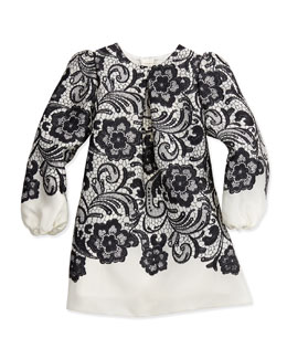 Dolce & Gabbana Lace-Print Long-Sleeve A-line Dress, Black/White, Girl's 8-10