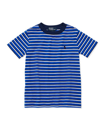 Striped Short-Sleeve Tee, Deep Royal, 4-7