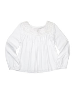 Ralph Lauren Childrenswear Lace-Yoke Blouson Top, White, Sizes 4-6X