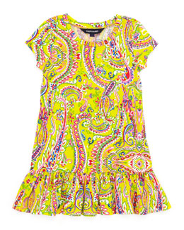 Ralph Lauren Childrenswear Paisley-Print Short-Sleeve T-Shirt Dress, Yellow, Sizes 4-6X