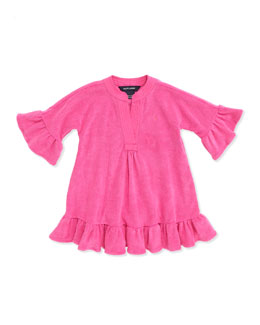 Ralph Lauren Childrenswear Terry-Cloth Ruffle-Trim Coverup, Belmont Pink, 4-6X