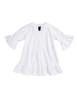 Ralph Lauren Childrenswear Terry-Cloth Ruffle-Trim Coverup, White, Sizes 4-6X