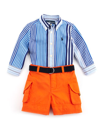 Striped Shirt & Cargo Shorts Set, Blue, 9-24 Months