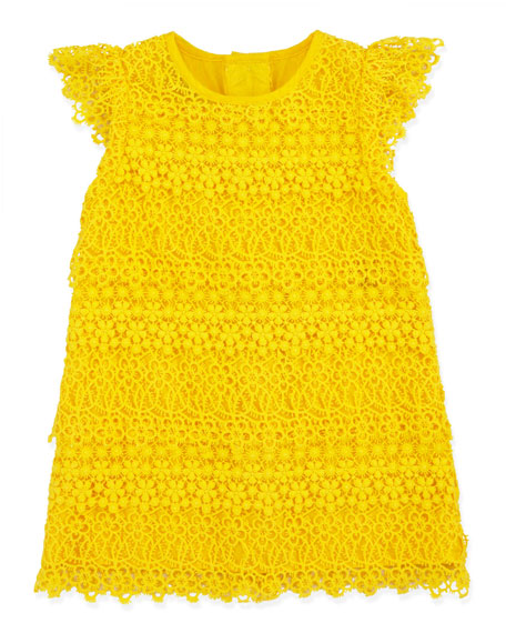 Lace Tiered Shift Dress, Sunfish Yellow, 3-9 Months