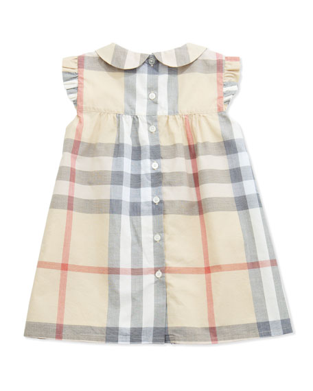 Davina Ruffle-Shoulder Check Dress, Paltrench, 3-24 Months