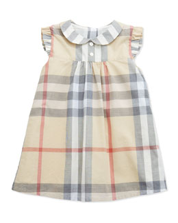 Ruffle-Shoulder Check Dress, Paltrench, 3-24 Months