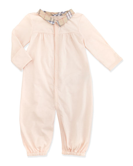 Newborn Check-Collar Long-Sleeve Playsuit, Light Pink