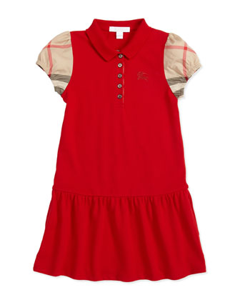 Pique Check-Sleeve Polo Dress, Medium Red, 4Y-10Y