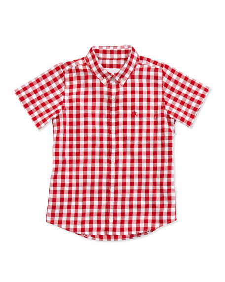 Large-Gingham-Check Shirt, Red, 4Y-10Y