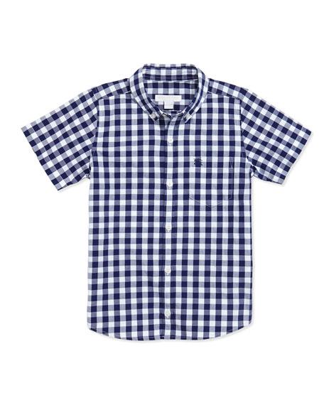 Boy's Gingham Short-Sleeve Shirt, Blue, 4Y-10Y