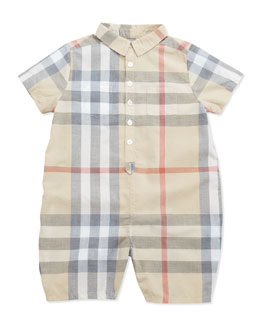 Infant Boys' Short-Sleeve Check Playsuit, 3-24 Months