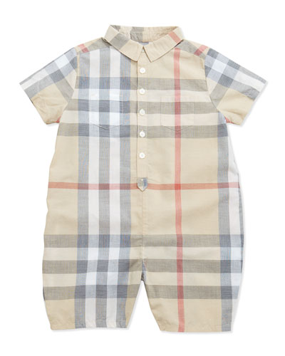 Kirk Infant Boys' Short-Sleeve Check Playsuit, 3-24 Months