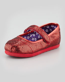 TOMS Tiny Glitter Mary Janes, Red