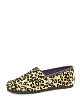 TOMS Youth Cheetah-Print Glitter Slip-On