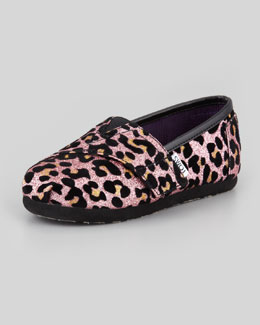 TOMS Tiny Cheetah-Print Glitter Slip-On, Pink