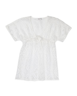 Milly Minis Geometric V-Neck Cover-Up, Sizes 8-10