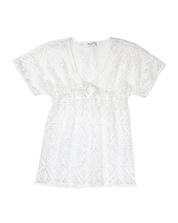 Milly Minis V-Neck Coverup, White, Sizes 2-7