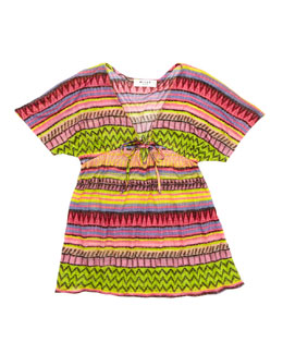 Milly Minis Raffia Geometric-Stripe Cover-Up, Sizes 8-10