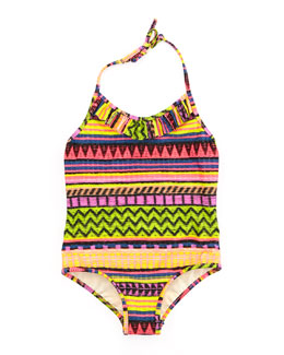 Milly Minis Raffia Geometric-Stripe One-Piece Swimsuit, Sizes 8-10