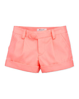 Milly Minis Bow-Pocket Shorts, Coral, Sizes 2-6