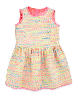 Milly Minis Neon Flecked Tweed Dress, Multi, Sizes 8-10